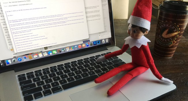 Chewy at the keyboard working on answers to the questions we sent him.