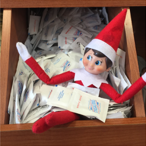 The carb-crazy elf gets loose in the sugar drawer.